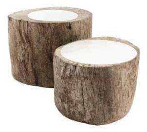 dos mesas troncos
